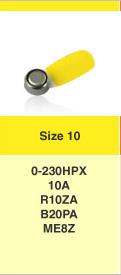 Type 10 hoorbatterijen, kleurcode GEEL